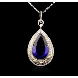 18KT White Gold GIA Certified 69.66ct Tanzanite and Diamond Pendant With Chain