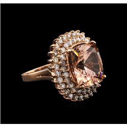 10.55ct Morganite and Diamond Ring - 14KT Rose Gold