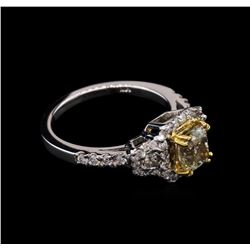 1.67ctw Light Yellow Diamond Ring - 14KT White Gold