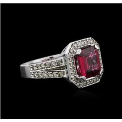 14KT White Gold 3.33ct Rubellite and Diamond Ring
