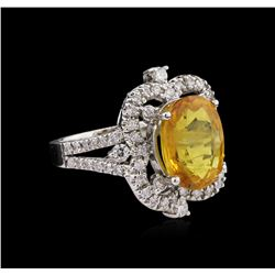6.60ct Yellow Sapphire and Diamond Ring - 14KT White Gold