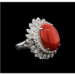 14KT White Gold 9.27ct Coral and Diamond Ring
