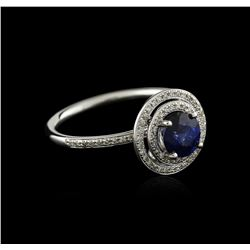 14KT White Gold 0.97ct Sapphire and Diamond Ring