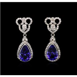 8.65ctw Tanzanite and Diamond Earrings - 14KT White Gold