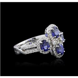14KT White Gold 1.90ctw Sapphire and Diamond Ring