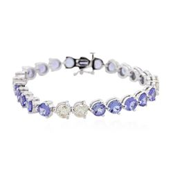 14KT White Gold 14.60ctw Tanzanite and Diamond Bracelet