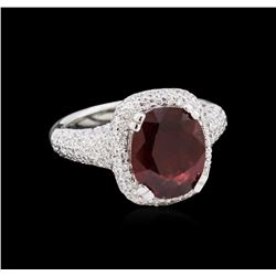 4.05ct Ruby and Diamond Ring - 18KT White Gold