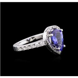 14KT White Gold 2.30ct Tanzanite and Diamond Ring