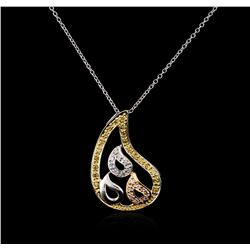 18KT Tri Color Gold 0.20ctw Diamond Pendant With Chain