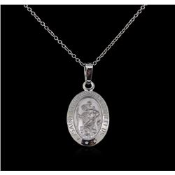 14KT White Gold Religious Pendant With Chain