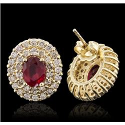 14KT Yellow Gold 2.07ctw Ruby and Diamond Earrings