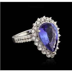 14KT White Gold GIA Certified 5.07ct Tanzanite and Diamond Ring