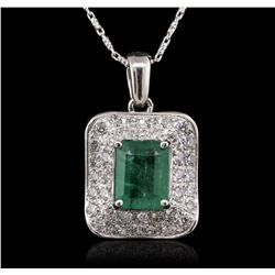 14KT White Gold 3.21ct Emerald and Diamond Pendant With Chain