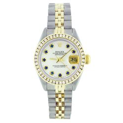 Rolex Two-Tone Sapphire and Diamond DateJust Ladies Watch