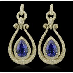 14KT Yellow Gold 17.82ctw Tanzanite and Diamond Earrings