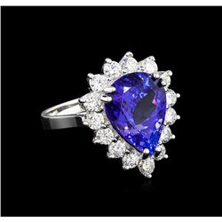 9.00ctw Tanzanite and Diamond Ring - 18KT White Gold