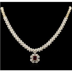 4.77ct Ruby and Diamond Necklace - 14KT Yellow Gold