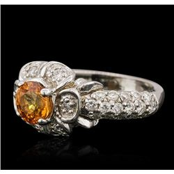 14KT White Gold 1.24ct Yellow Sapphire and Diamond Ring