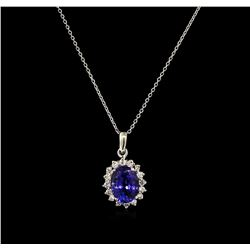 4.00ct Tanzanite and Diamond Pendant With Chain - 14KT White Gold