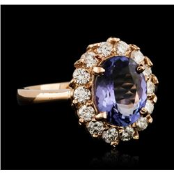 14KT Rose Gold 2.68ct Tanzanite and Diamond Ring