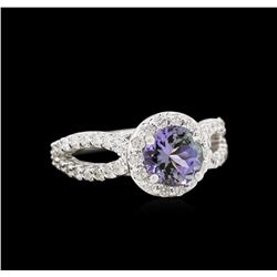 1.45ct Tanzanite and Diamond Ring - 14KT White Gold