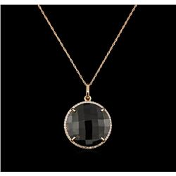 15.00ct Smokey Quartz and Diamond Pendant With Chain - 14KT Rose Gold
