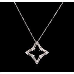 0.50ctw Diamond Pendant With Chain - 14KT White Gold
