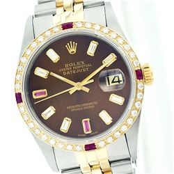 Rolex Two-Diamond and Ruby DateJust Men's Watch
