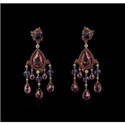 Ralph Lauren 54.06ctw Multi Gemstone and Diamond Earrings - 18KT Rose Gold