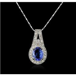 14KT White Gold 2.24ct Tanzanite and Diamond Pendant With Chain