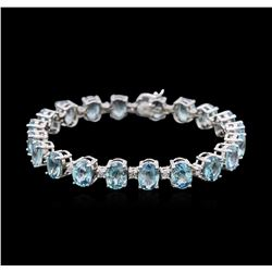14KT White Gold 27.80ctw Topaz and Diamond Bracelet