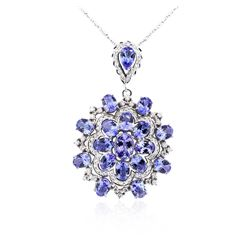 14KT White Gold 28.87ctw Tanzanite and Diamond Pendant With Chain