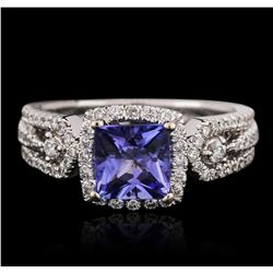 18KT White Gold 1.62ct Tanzanite and Diamond Ring