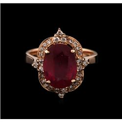 14KT Rose Gold 4.38ct Ruby and Diamond Ring