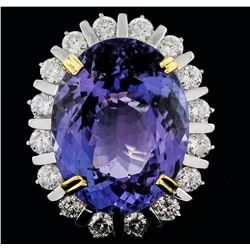 14KT Two-Tone Gold 19.31ct Tanzanite and Diamond Ring