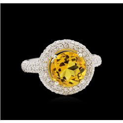14KT White Gold 2.70ct Citrine and Diamond Ring
