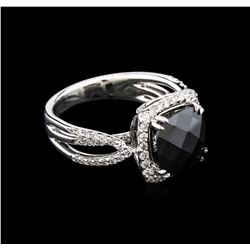 5.50ct Black Onyx and Diamond Ring - 18KT White Gold