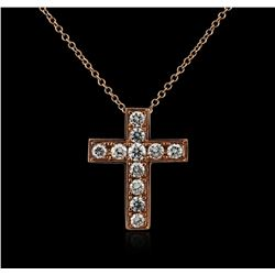 14KT Rose Gold 0.26ctw Diamond Cross Pendant With Chain
