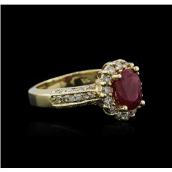 14KT Yellow Gold 1.56ct Ruby and Diamond Ring