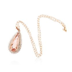 14KT Rose Gold GIA Certified 23.45ct Morganite and Diamond Pendant With Chain