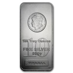10 OZ .999 PURE SILVER BAR W/MORGAN DOLLAR IMPRINT