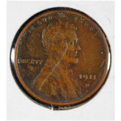 1911-S LINCOLN CENT XF/AU KEY DATE