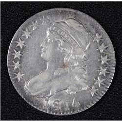 1814 BUST HALF DOLLAR, AU  NICE LUSTRE, TYPICAL WEAK STRIKE
