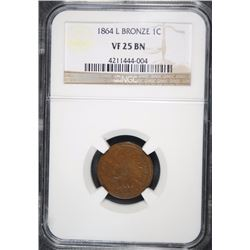 1864-L  BRONZE INDIAN HEAD CENT NGC VF25