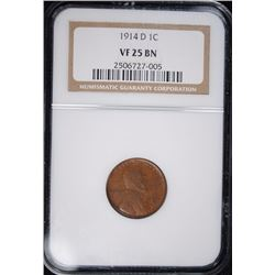1914-D LINCOLN CENT NGC VF 25 BN KEY DATE