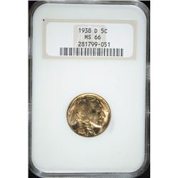 1938-D BUFFALO NICKEL NGC MS-66 OLD FAT HOLDER