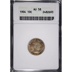 1904 BARBER DIME ANACS AU 58 PRETTY COLORS!