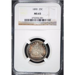1890 SEATED QUARTER, NGC MS-65 AMAZING COLORS OBVERSE & REVERSE!