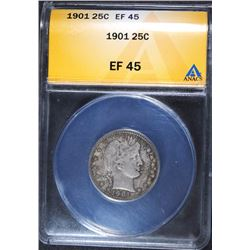 1901 BARBER QUARTER, ANACS EF-40  SOME SCRATCHES ON FRONT OF HOLDER