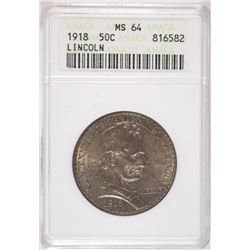 1918 LINCOLN HALF DOLLAR COMMEM ANACS MS65 TONS OF LUSTRE